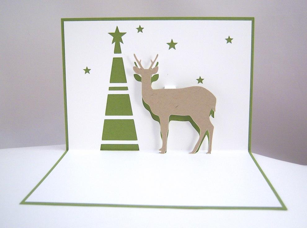 Weihnachten - Pop-up Weihnachtskarte Rentier Tannenbaum