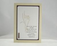 Trauerkarte Blume mit Perlen