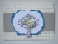 Trauerkarte Kreuz Rose