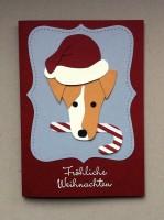 Weihnachtskarte Hund mit Weihnachtsmuetze