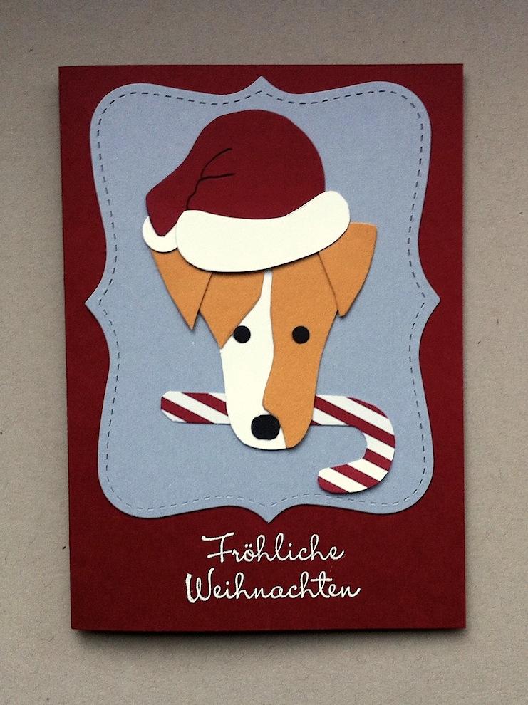 Weihnachten - Weihnachtskarte Hund mit Weihnachtsmuetze