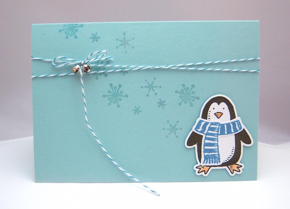 Weihnachtskarte Pinguin 1