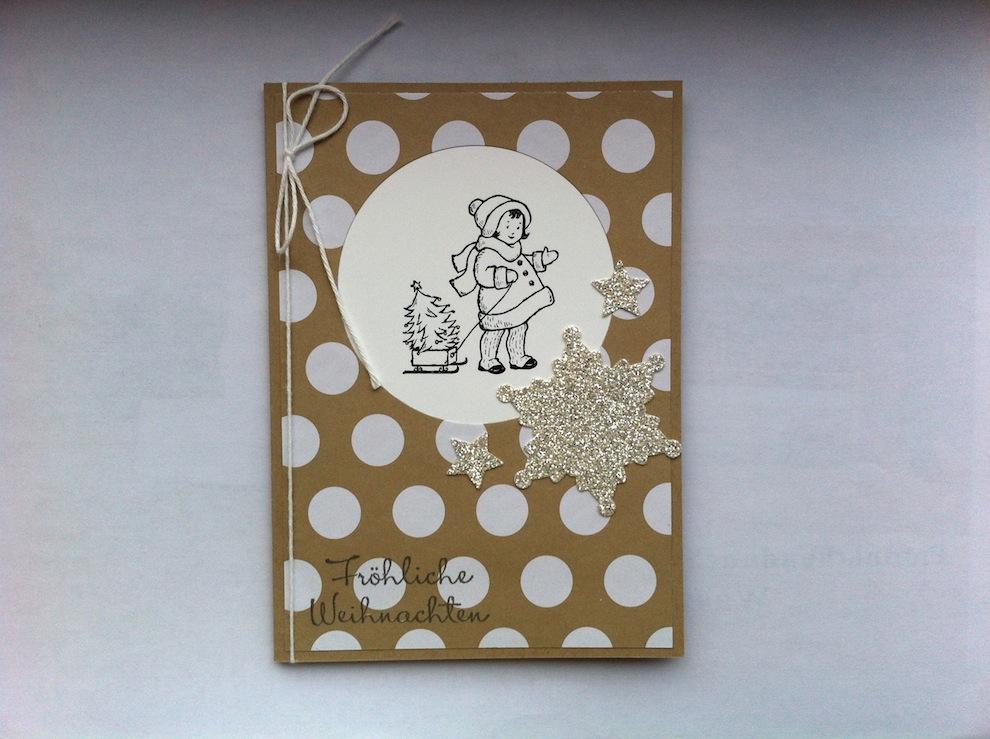 Weihnachtskarte Punkte mit Kind
