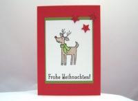 Weihnachtskarte Rentier mit Schal 1