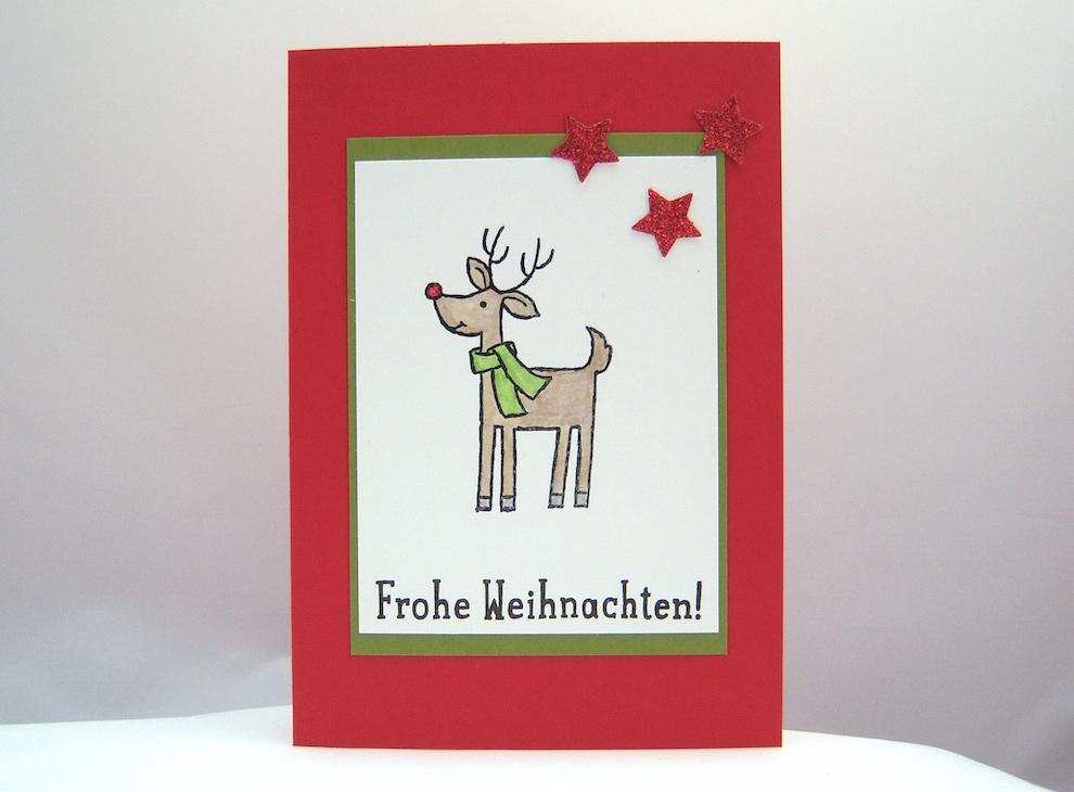 Weihnachten - Weihnachtskarte Rentier mit Schal 1