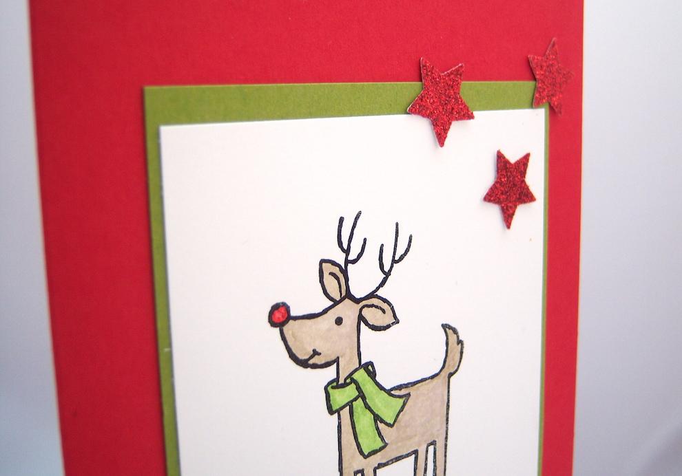 Weihnachtskarte Rentier mit Schal 2