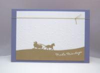 Weihnachtskarte Schlittenfahrt gold