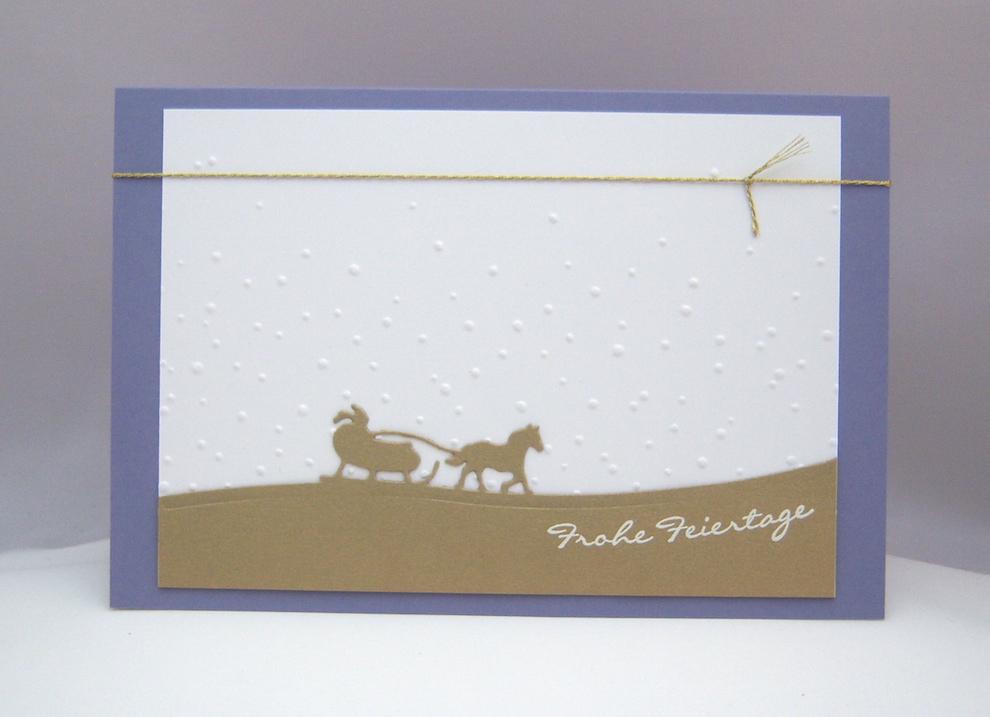 Weihnachten - Weihnachtskarte Schlittenfahrt gold