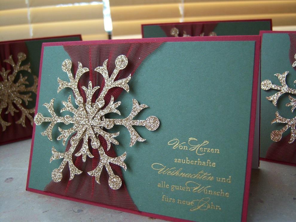 Weihnachtskarte Schneeflocke gold 1