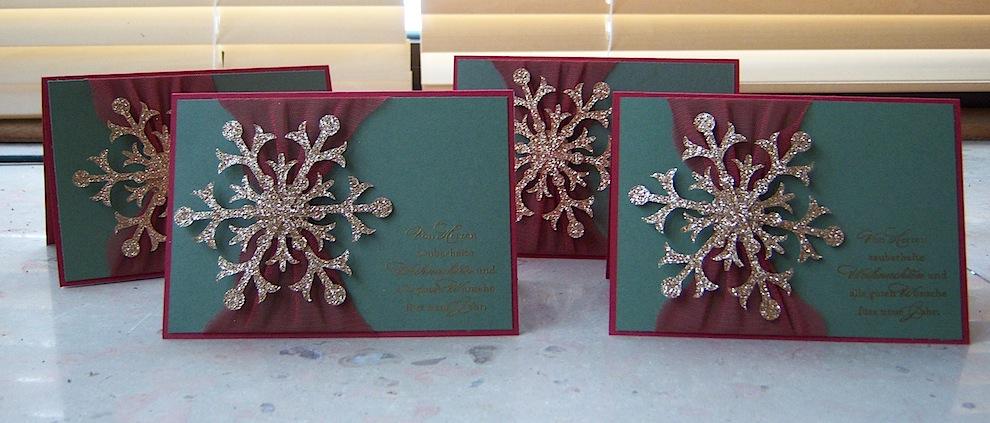 Weihnachtskarte Schneeflocke gold 2
