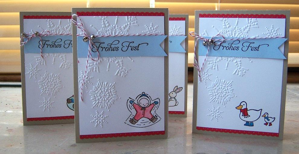 Weihnachtskarte Schneeflocken mit coloriertem Motiv 2