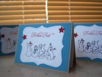 Weihnachtskarte Schneemaenner mit Sternen 1