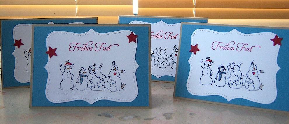 Weihnachtskarte Schneemaenner mit Sternen 2