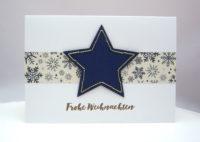 Weihnachtskarte Stern gestickt