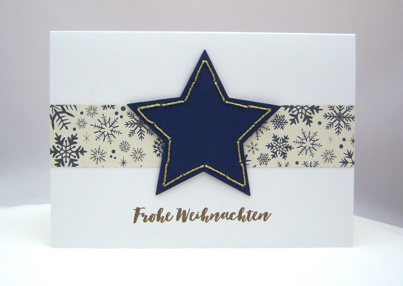Weihnachten - Weihnachtskarte Stern gestickt