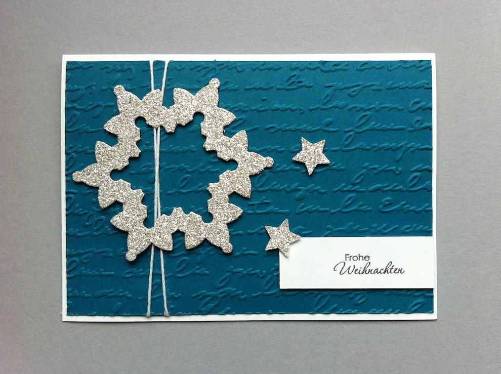 Weihnachten - Weihnachtskarte Sterne silber