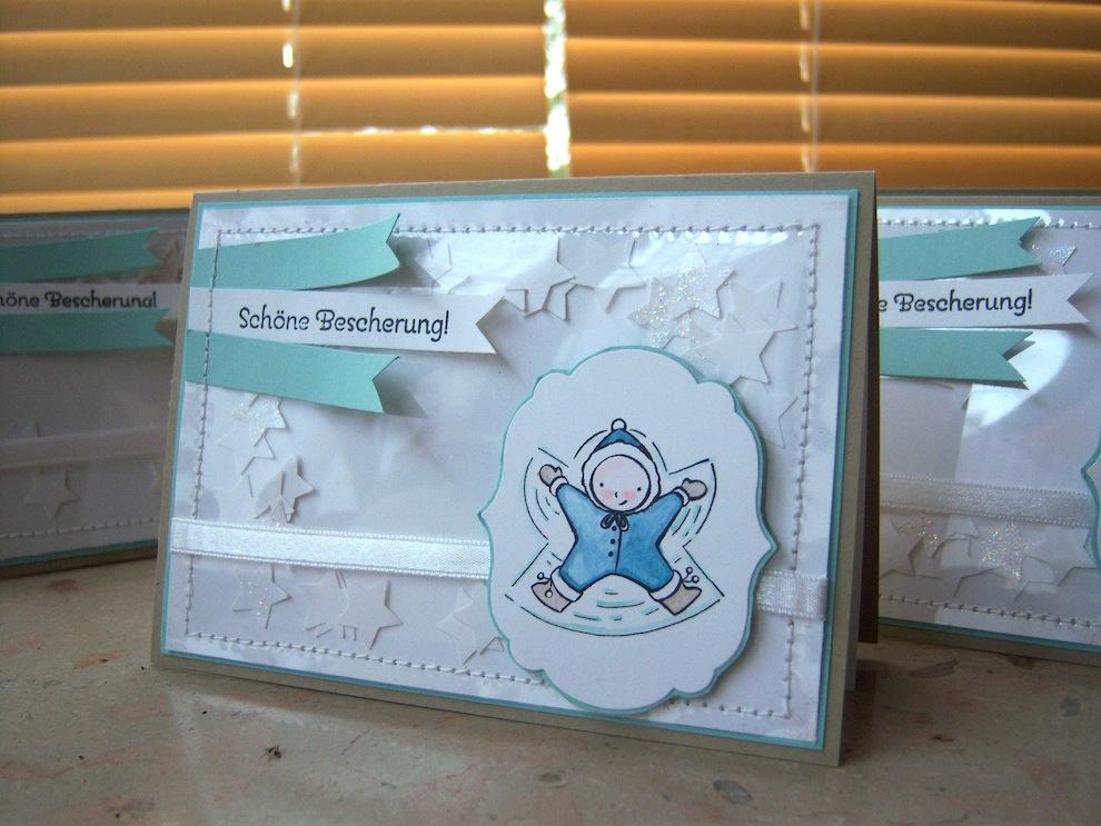 Weihnachten - Weihnachtskarte genaehte Schuettelkarte Kind im Schnee 1