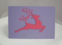 Weihnachtskarte springendes Rentier